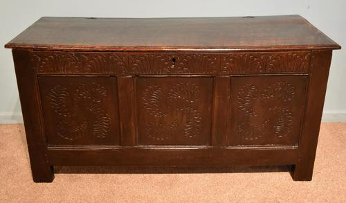 Early 18th Century Oak Coffer Carved (1 of 7)