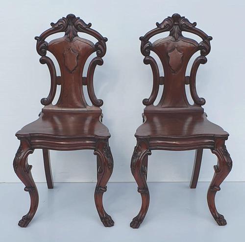 19th Century Irish Mahogany Pair of Hall Chairs Attributed to Strahan (1 of 5)