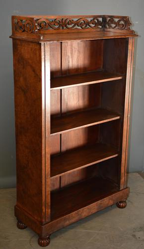 Antique Burr Walnut Open Bookcase (1 of 4)