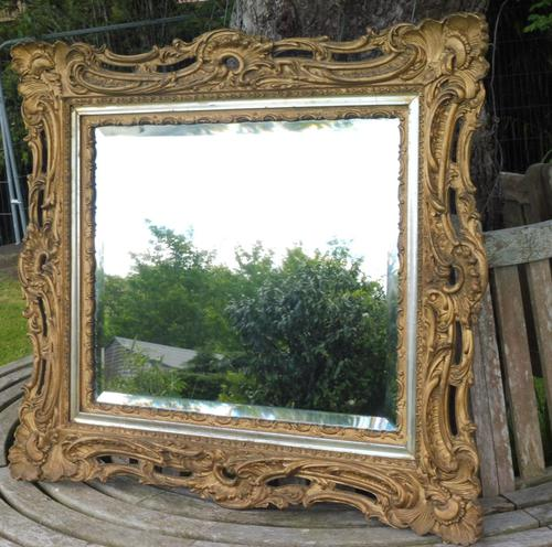 Gilded Rococo Style Wood Mirror Bevelled Glass 1900 (1 of 12)