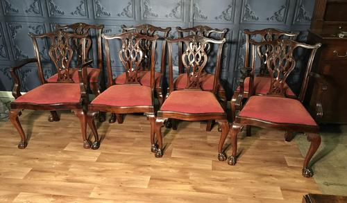 Quality Set of Eight Chippendale Style Dining Chairs (1 of 15)
