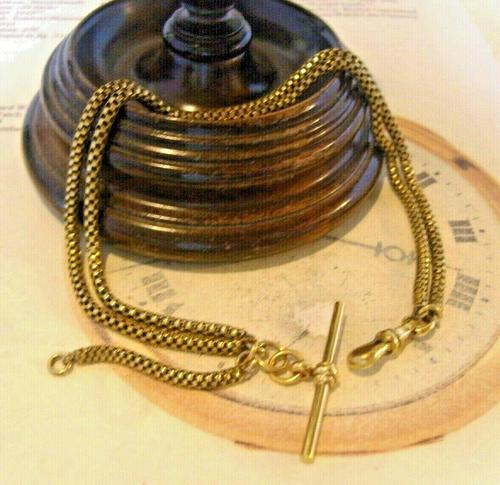 Victorian Pocket Watch Chain 1890s Antique Brass Double Albert With T Bar (1 of 11)