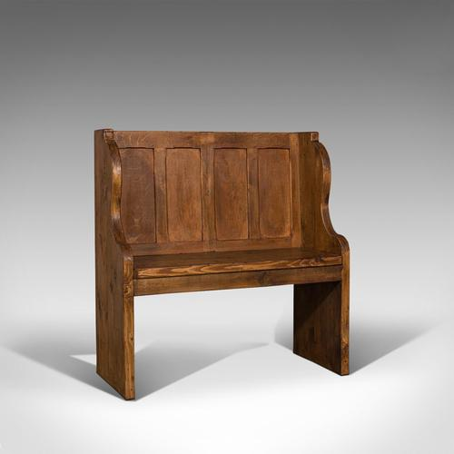 Antique Two Seat Settle, English, Oak, Pine, Ecclesiastic, Pew, Bench, Victorian (1 of 10)