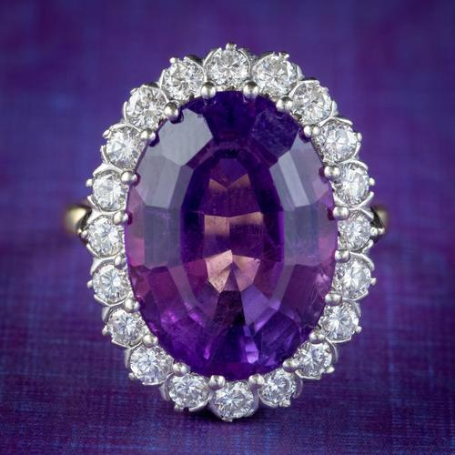 Vintage Amethyst Diamond Cocktail Ring 18ct Gold 12ct Amethyst Circa 1980 (1 of 8)