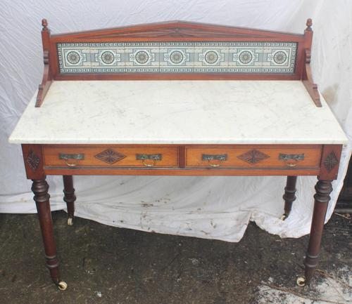 1910's Maple and Co Mahogany Marble Top Washstand with Tiles (1 of 4)