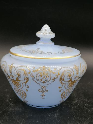 Antique Opaline Glass Covered Bowl / Bombonierre for Turkish Market / Persian Market (1 of 3)