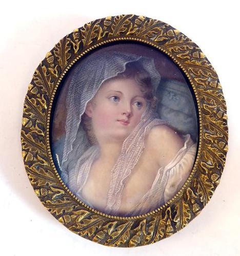 After Jean-Baptiste Greuze - Fine Gilt Mounted Portrait Miniature 19th Century (1 of 6)