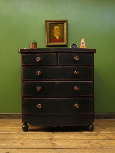 Large Antique Painted Black Bow Front Chest of Drawers, Gothic Shabby Chic (1 of 19)