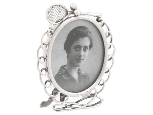 Sterling Silver Tennis Photograph Frame - Antique Victorian 1895 (1 of 9)