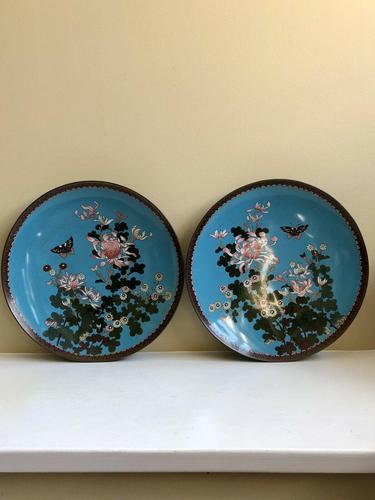 Antique Pair of Japanese Cloisonne Plates, Meiji Period (1 of 12)