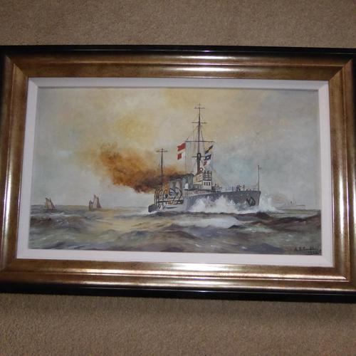Original Painting of WW1 Battle Cruiser (1 of 5)