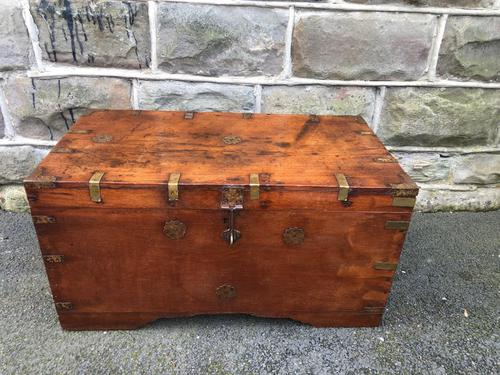 Antique Anglo Indian Brass Bound Trunk (1 of 11)