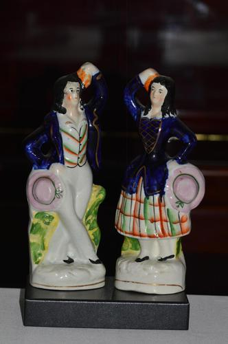 Attractive Pair of Staffordshire Figures of Village Dancers c.1860 (1 of 8)