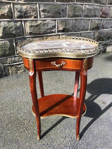 Antique Marble Top Mahogany Kidney Shaped Table (1 of 8)