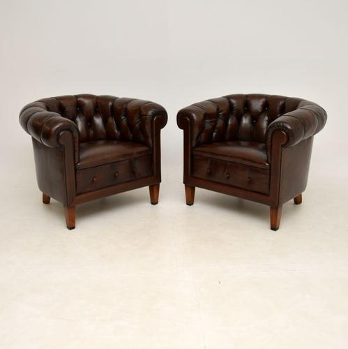 Pair of Antique Swedish  Leather Chesterfield Armchairs (1 of 9)