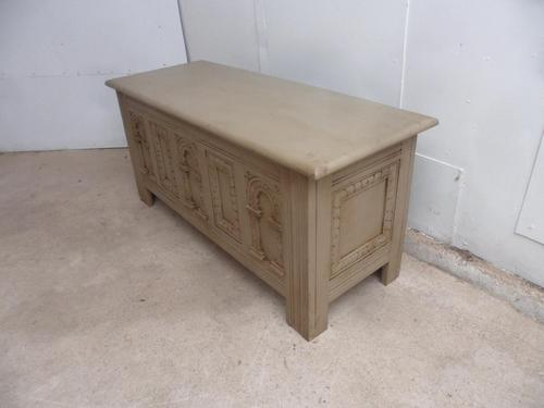 Lovely 1920s Large Old Charm Painted Oak Coffer / Blanket Box / TV Stand (1 of 9)