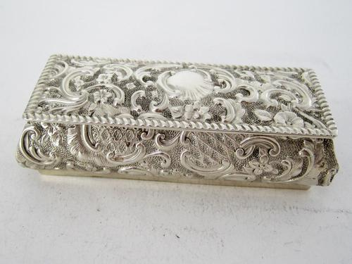 Late Victorian Rectangular Silver Jewellery or Trinket Box (1 of 6)