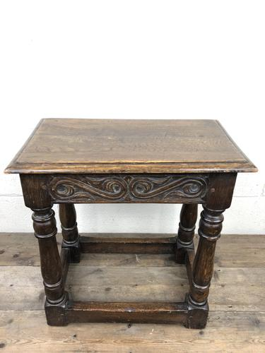 Antique Oak Joint Stool with Carved Detail (1 of 13)