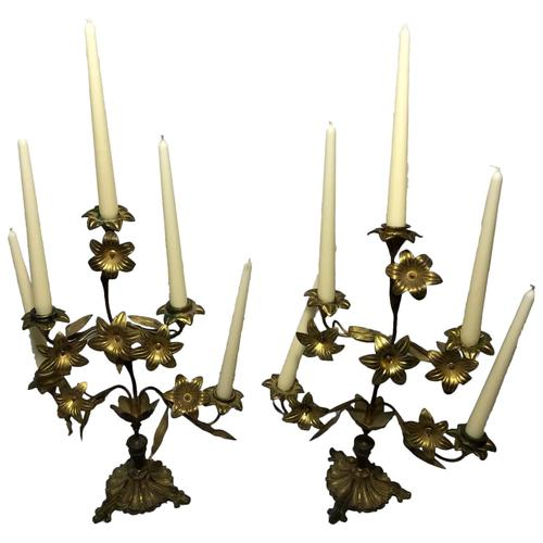 Pair of Art Nouveau French Gilt Bronze Ormolu 5 Branch Candelabra's & Ivory White Wax Candles (1 of 18)