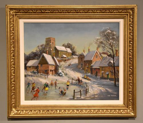 """Oil Painting by Max Hofler """"The Frozen Pond"""" (1 of 6)"""