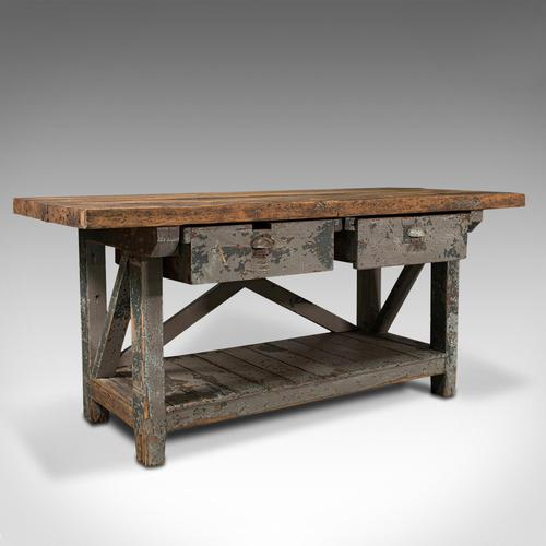 Large Antique Silversmith's Bench, English, Pine, Craftsman's Table, Victorian (1 of 10)