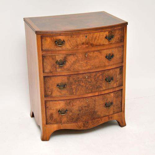 Antique Burr Walnut Bow Front Chest of Drawers (1 of 9)