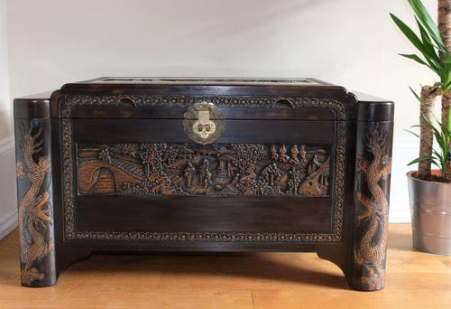 Chinese relief carved camphorwood coffer with an ebonised finish (1 of 23)