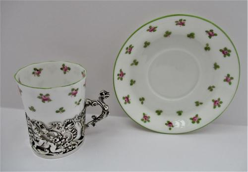 Staffordshire Bone China Coffee Cup & Saucer, Silver Mount, William Comyns, London 1911 (1 of 8)