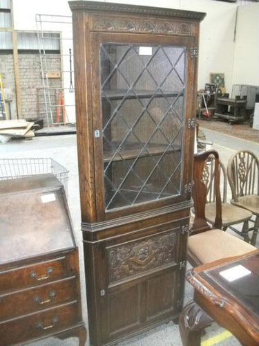 Carved Oak Lead Glazed Corner Cabinet (1 of 3)