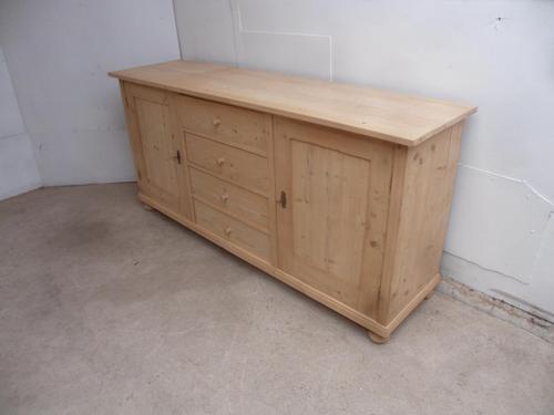 Flat Antique Pine 4 Door 4 Drawer Dresser Base / TV Stand to wax / paint (1 of 8)