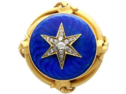0.35ct Diamond & Enamel, 18ct Yellow Gold Brooch - Antique c.1880 (1 of 9)