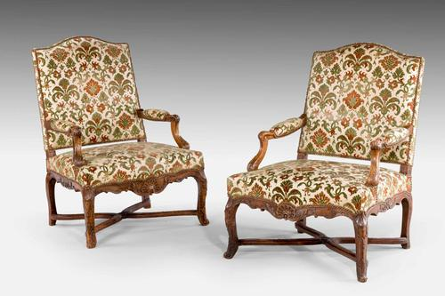 Pair of Well Carved Louis XV Period Fauteuils (1 of 6)
