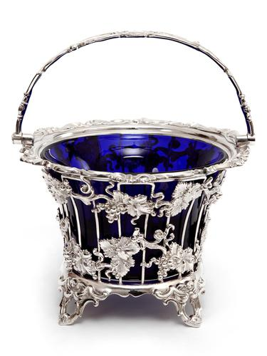 Large Victorian Silver Plated Sugar Basket with a Bristol Blue Liner (1 of 5)