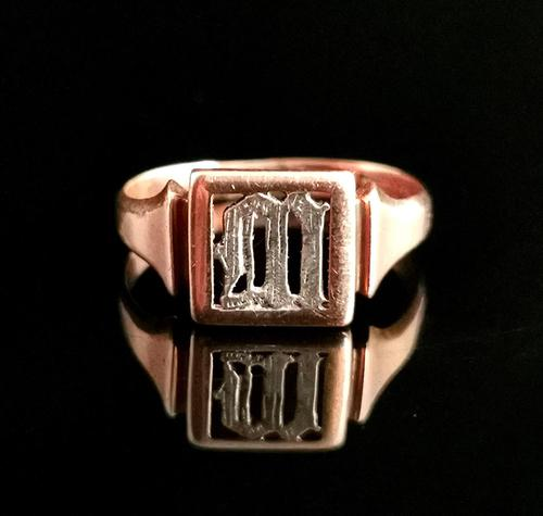 Antique 9ct Rose Gold Signet Ring, Initial M, Silver (1 of 10)