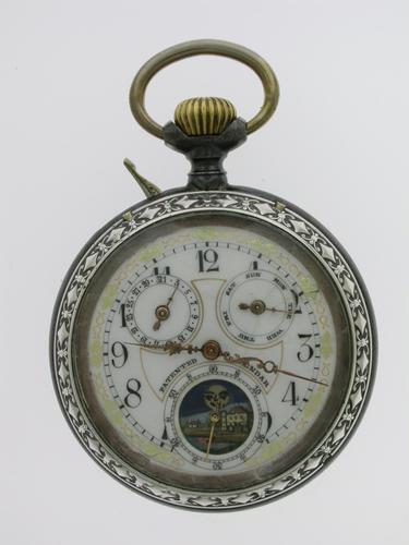 Full Calendar Silver & Gunmetal Open Face Pocket Watch Swiss 1920 (1 of 5)