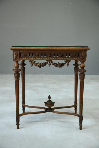 Antique French Walnut & Marble Table (1 of 8)