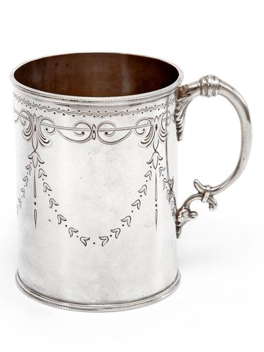 Victorian Silver Christening Mug in a Straight Body Form and Garland and Scroll Engraving (1 of 5)