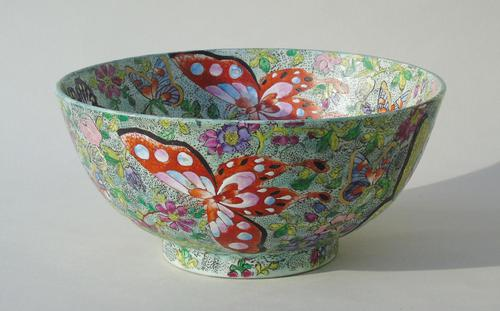 Antique Chinese Porcelain Bowl with Butterflies Famille Rose (1 of 12)
