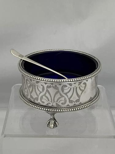 Large Victorian Antique Silver Salt Cellar & Spoon 1861 London Richards & Brown (1 of 10)