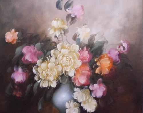 Large Oil on Canvas Bowl of Roses Signed (free Shipping to Mainland England (1 of 12)