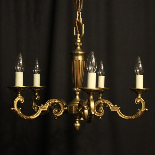 French Gilded Bronze 5 Light Chandelier (1 of 7)