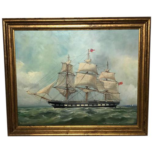 "Marine Oil Painting ""Windsor Castle"" Mail Steamer Ship Signed Dorothy Lightfoot (1 of 31)"