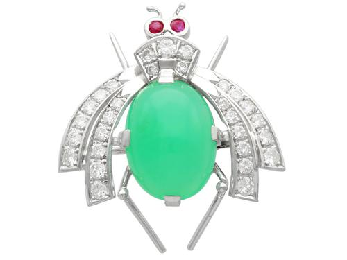 8.09ct Chrysophrase and 1.26ct Diamond & Ruby, 14ct White Gold Insect Brooch - Vintage European c.1950 (1 of 9)