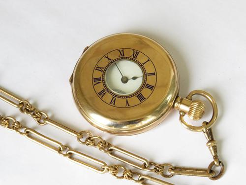 Antique Waltham Traveler Half Hunter Pocket Watch & Chain (1 of 6)