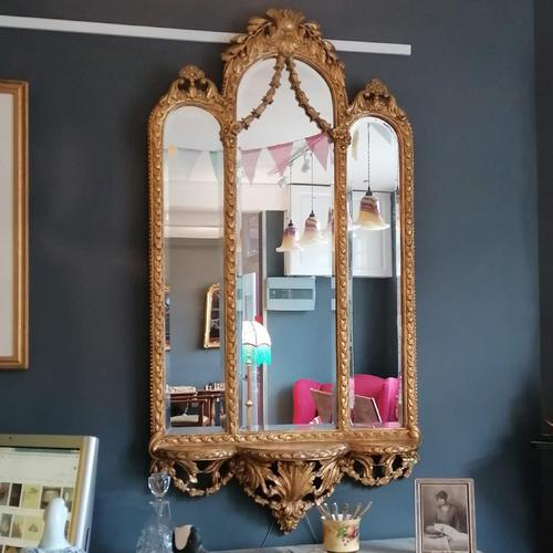 Antique Regency style triple fronted Giltwood Mirror with shelf (1 of 9)