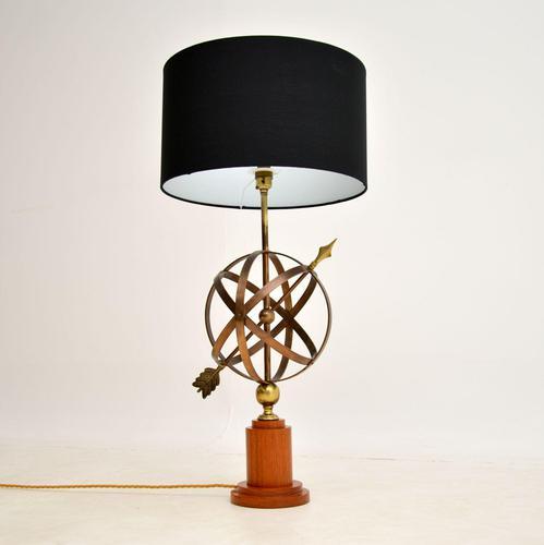 Brass & Teak Armillary Sphere Vintage Table Lamp (1 of 11)