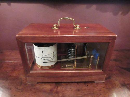 Antique Polished Mahogany Portable Barograph (1 of 9)