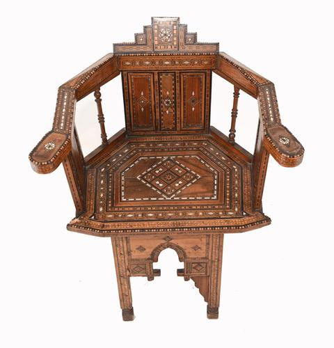 Arabic Chair Antique Damascan Furniture Inlay 1920 (1 of 10)