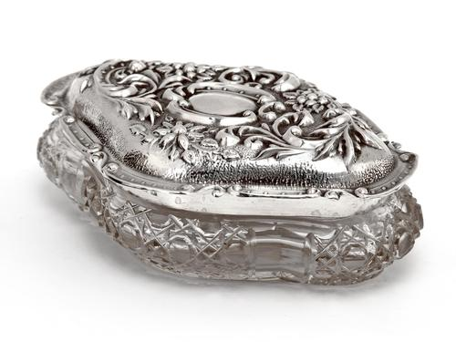 Edwardian Silver & Cut Glass Jewellery Jar with a Floral and Scroll Embossed Pull Off Lid (1 of 6)