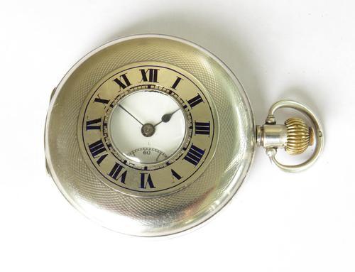 Antique Silver Moeris Half Hunter Pocket Watch (1 of 5)